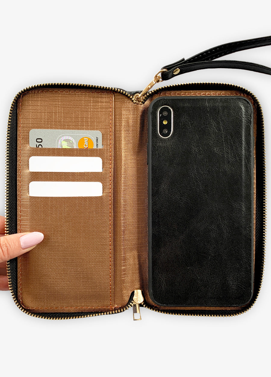 Ultra Slim Wristlet Phone Case in Black