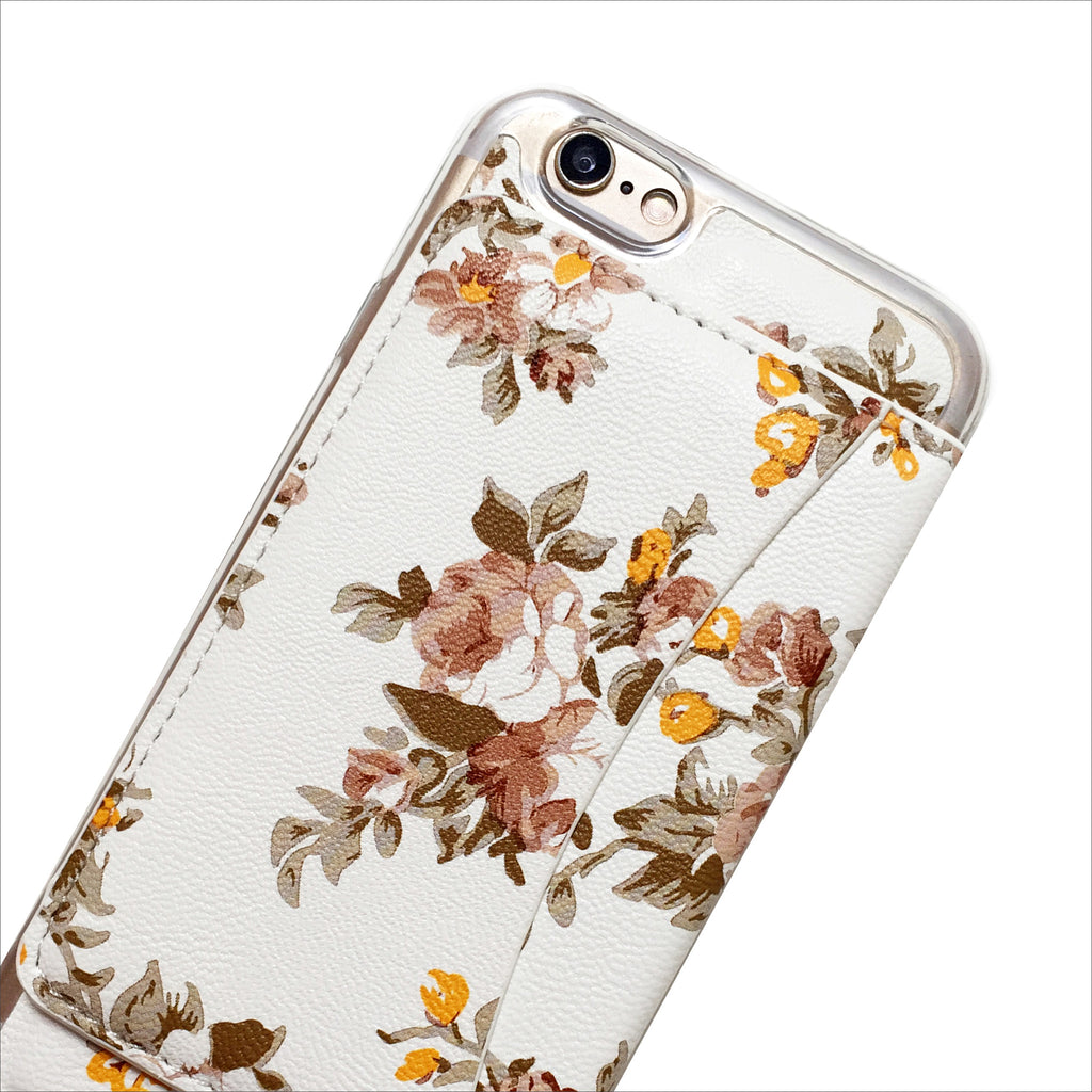 Floral Wallet Phone Case in White