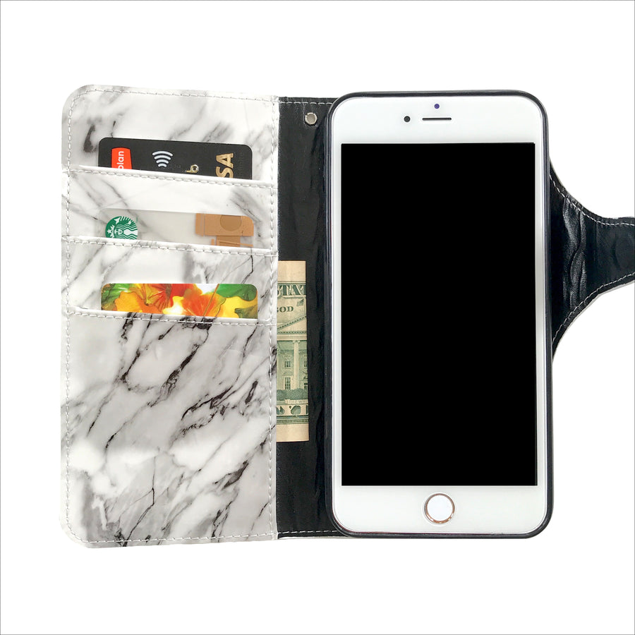 White Marble Wallet Phone Case