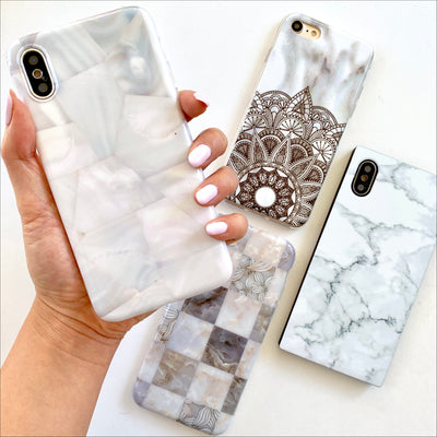 White Geo Seashell Phone Case