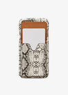 Crossbody Card Case in White Snakeskin