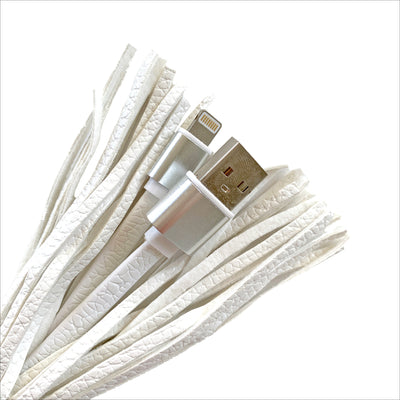 White Tassel Keychain Charging Cable