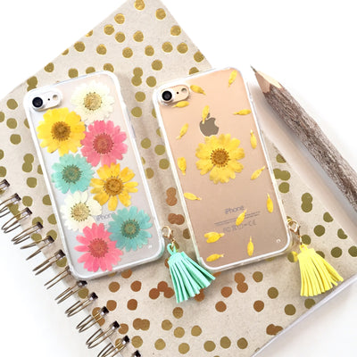 Pressed Pastel Daisies Tassel Phone Case