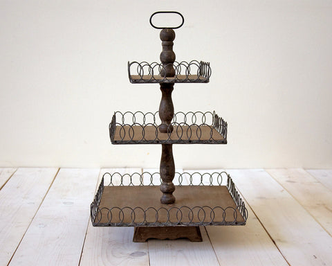 3 Tier Wood & Metal Desert Stand