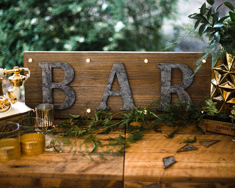 Wood Metal Bar Sign