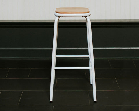 Wood & White Metal Bar Stool
