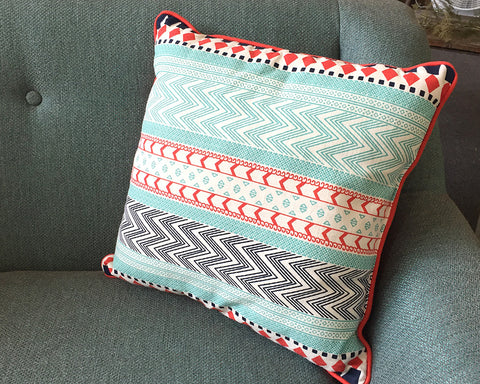 Blue Red Tribe Pillow