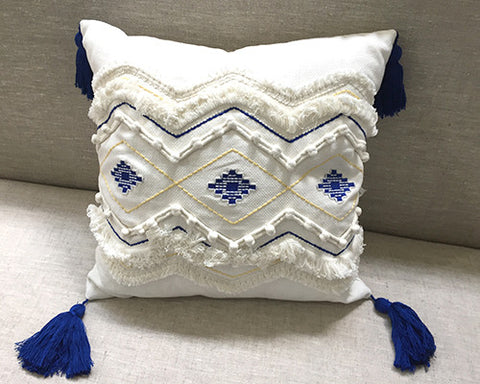 Blue White Tribe Pillow