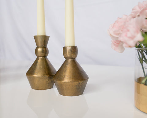 Gold/ Brass Geo Candlesticks