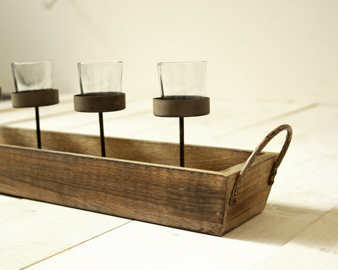 Rustic Candle Holder Trays