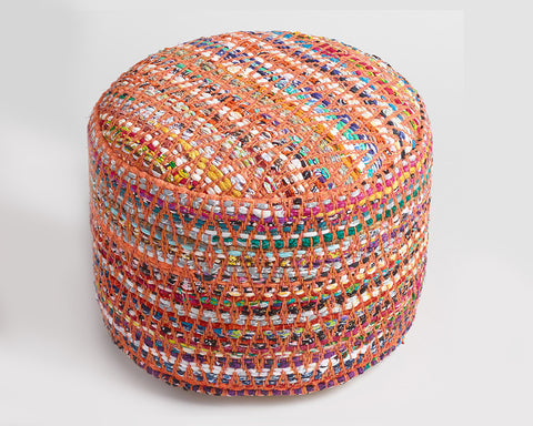 Multi-Color Chindi Pouf