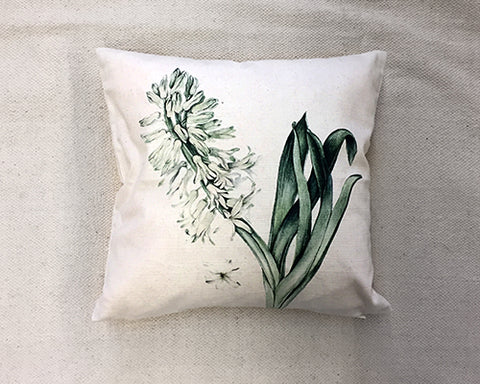 Green/Beige Flower Print Throw Pillow