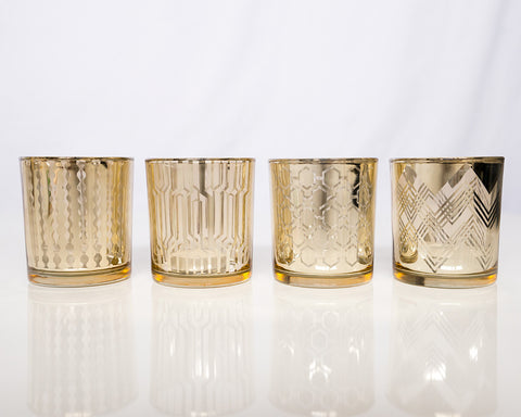 Gold n Clear Glass Votives - Large
