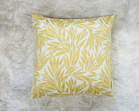Yellow Palm Leaf Throw Pillow