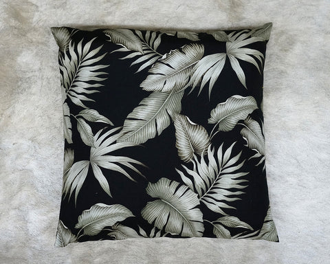 Black palm leaves floor pillow
