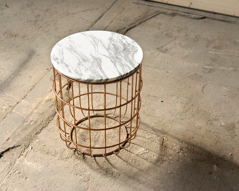 Marble & Rose Gold Side Table