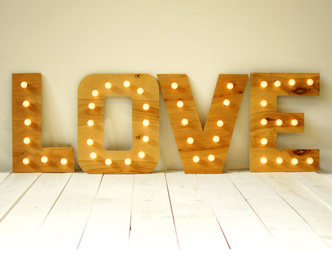 L-O-V-E Wood Marquee Sign