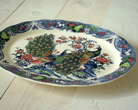 Blue Peacock Serving Tray