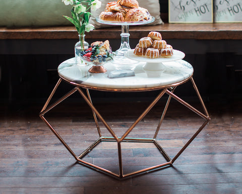 Marble & Rose Gold Pentagon Table
