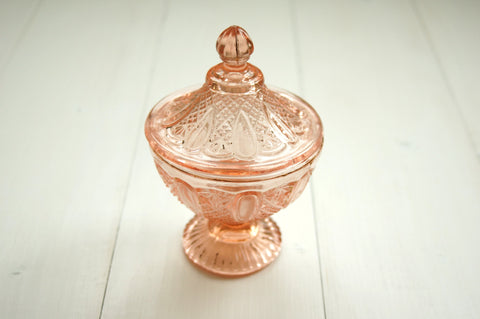 Pink Glass Candy Jar