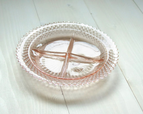 Vintage Pink Serving Tray - 4 quadrant