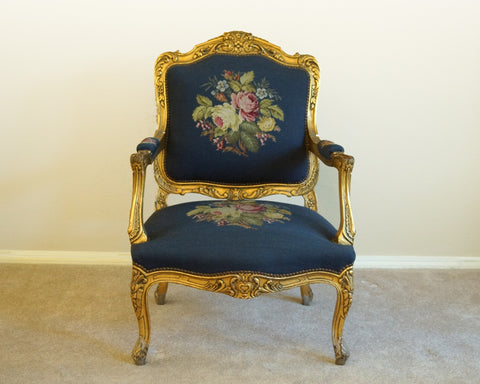 Vintage Golden Navy Rose Chairs
