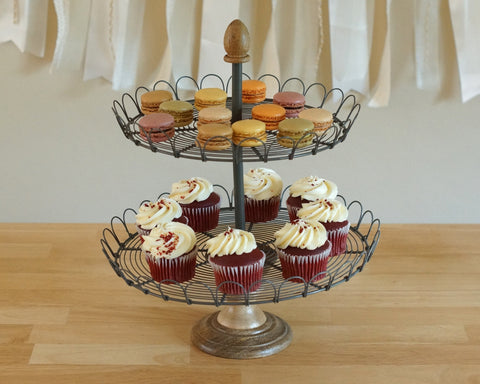 2 Tier Wood & Metal Cup Cake Stand