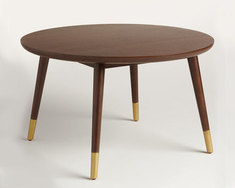 Dark wood n gold coffee table