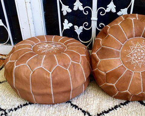 Brown Moroccan Poufs