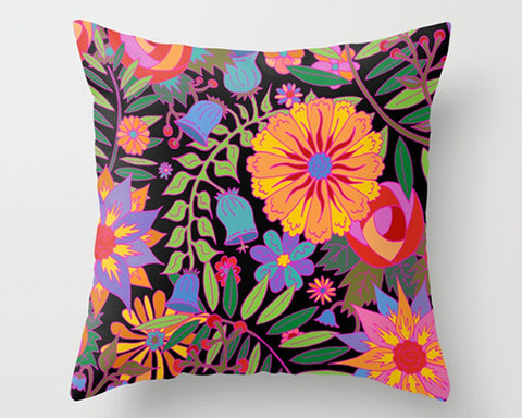 Florals on Black Pillows