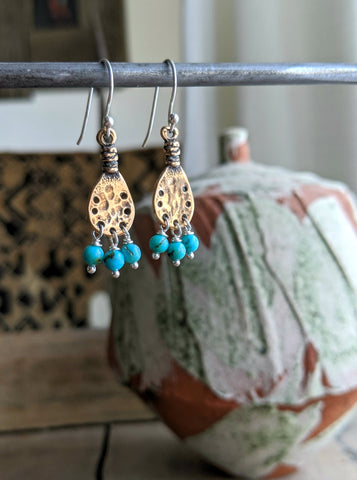 bronze and turquoise southwest earrings
