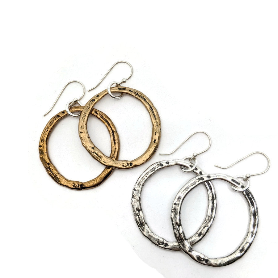 Simple Rustic Hoop Earrings
