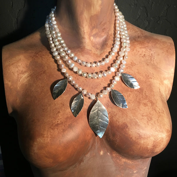 Tribal Leaf Necklace on Pearls