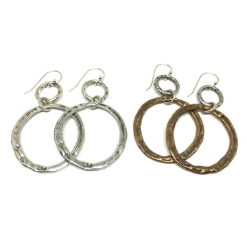 Ancient Bronze and Sterling Silver Hoop Earrings