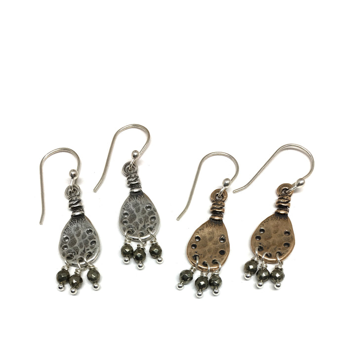 Vision Earrings with Pyrite Dangles