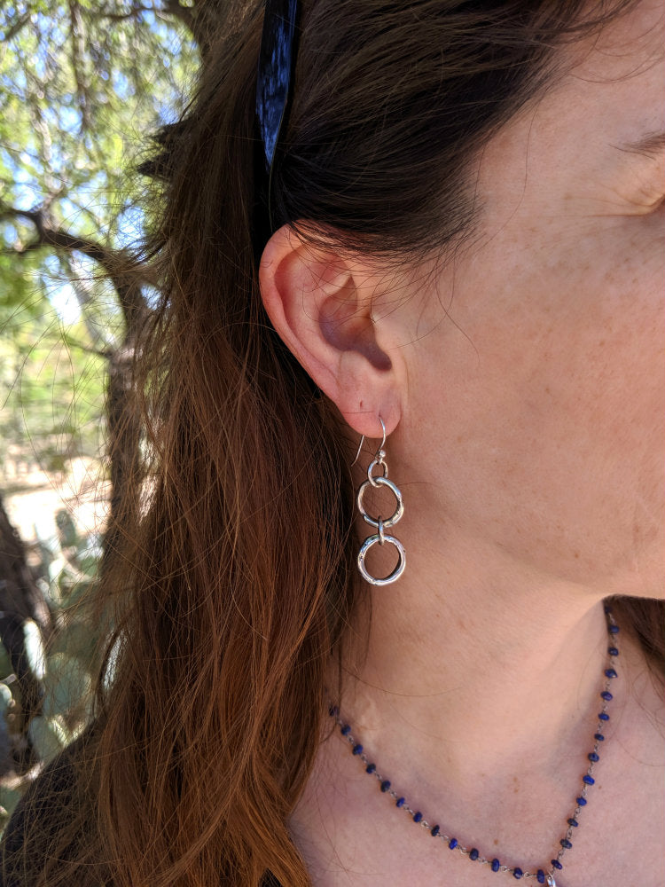 Double Rustic Link Earrings