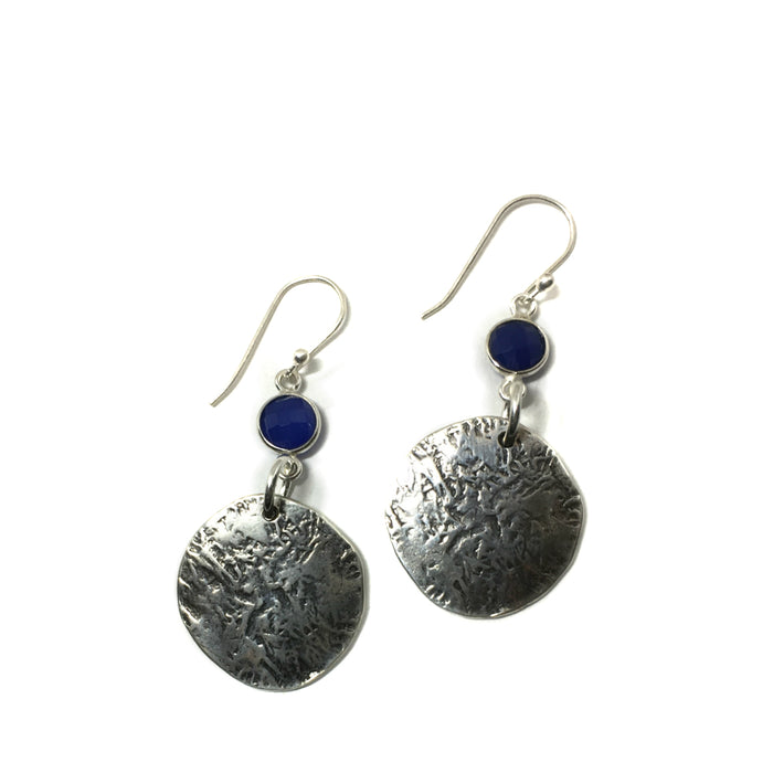 Ancient Coin Earrings with Blue Onyx