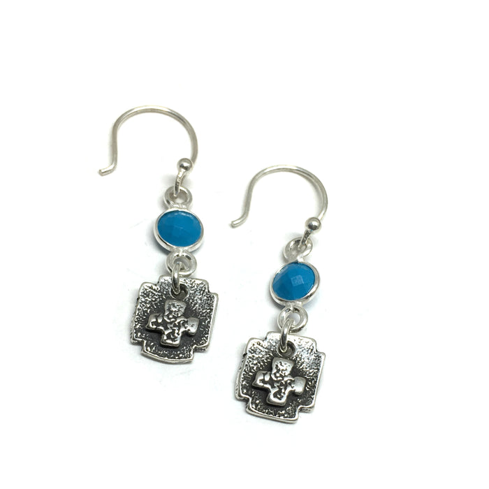 Square Cross Turquoise Earrings