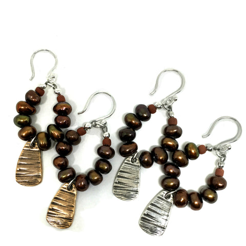 Pearl Hoop Earrings w/ Bark Bit
