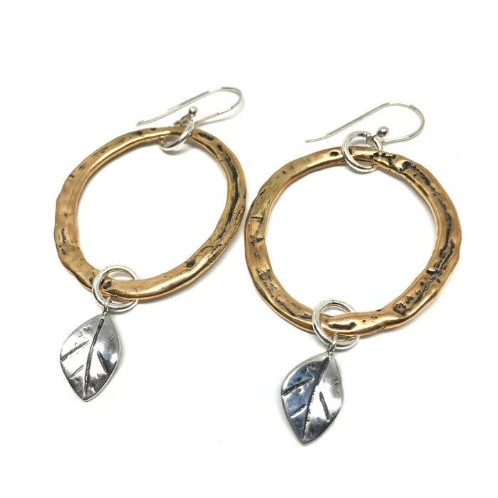 Rustic Hoop Earrings with Tiny Leaf