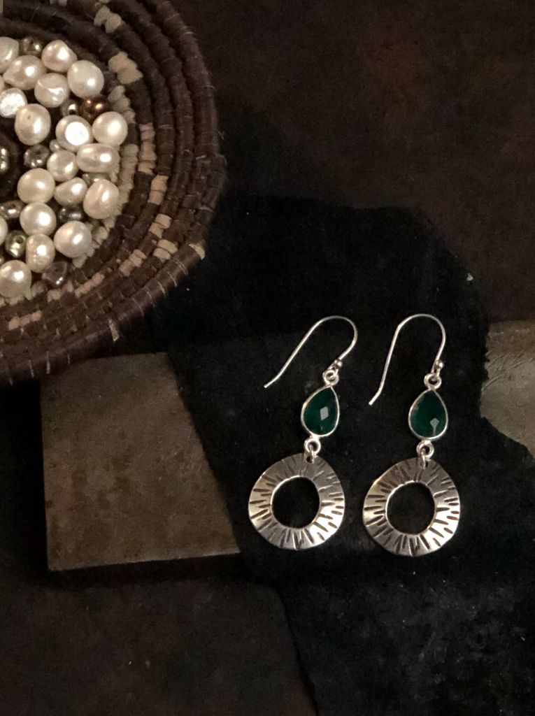 Classic Small Hoops with Green Onyx