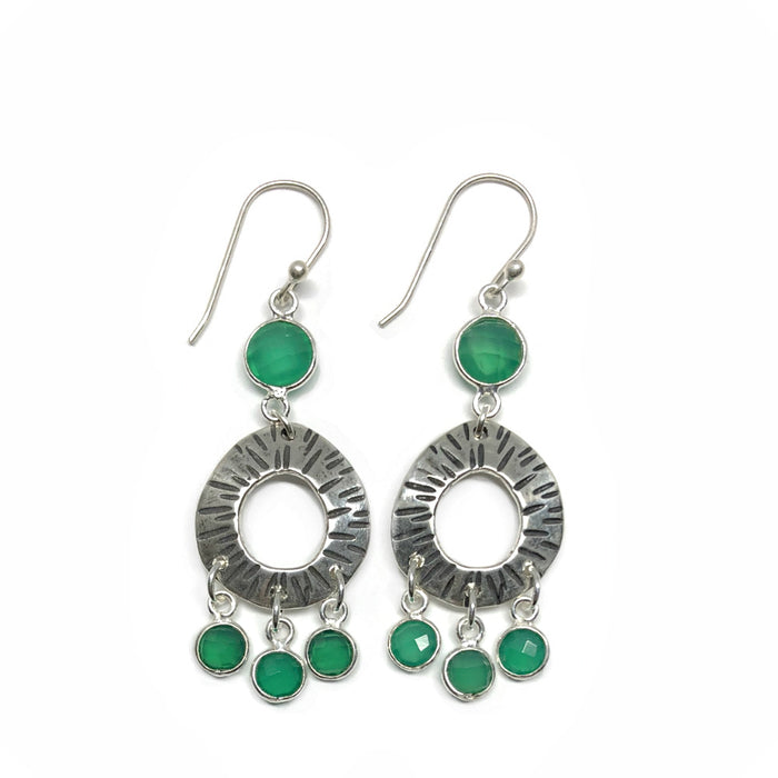Classic Small Hoops with Green Onyx Dangles