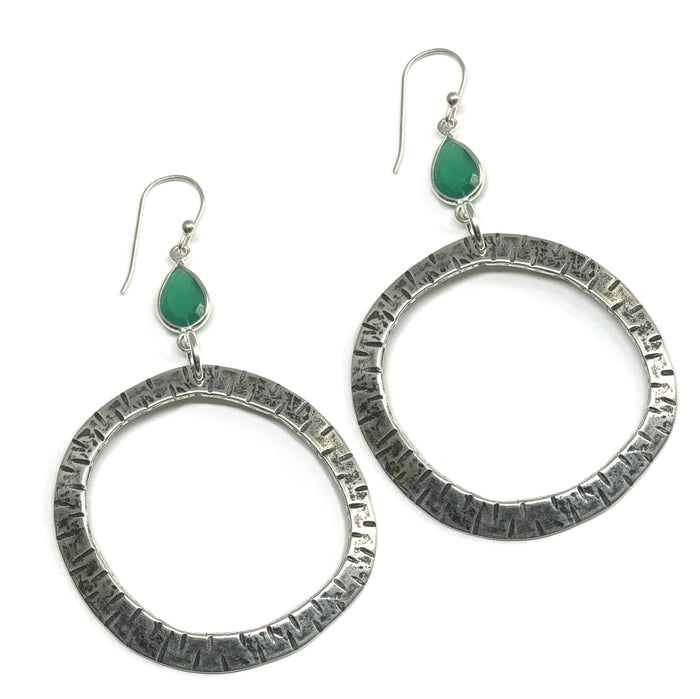 Classic Large Hoop Earrings with Green Onyx