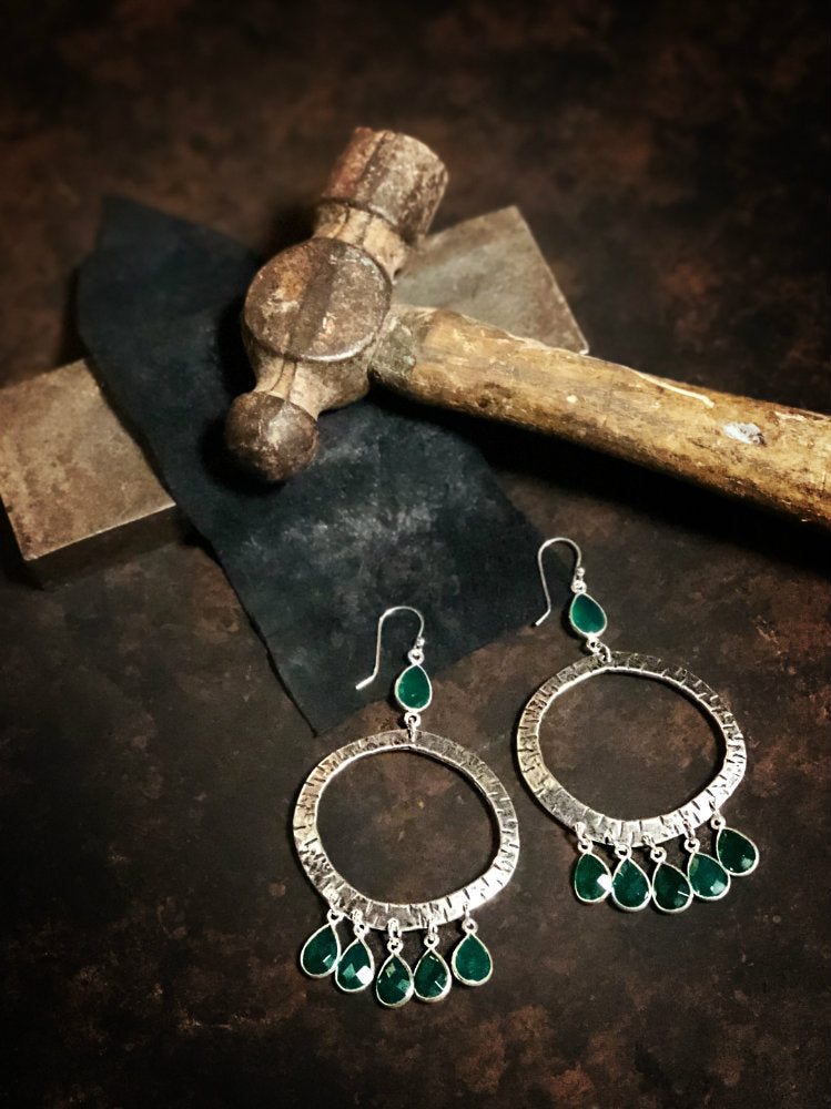 Classic Large Hoop Earrings with Green Onyx Dangles