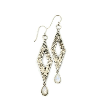 Long Diamond Earrings with Rainbow Moonstone