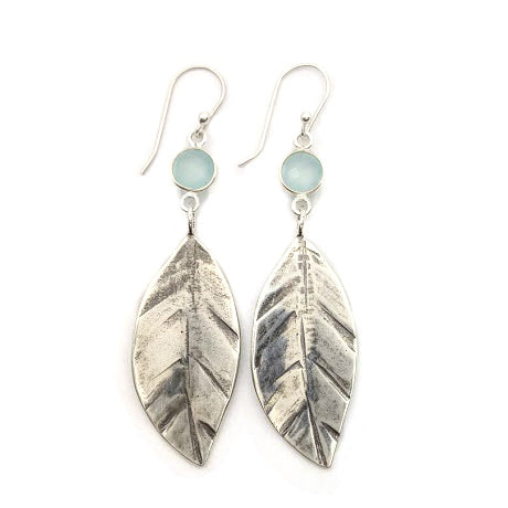 Leaf Earrings with Sea Green Chalcedony