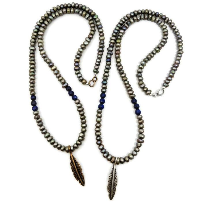 Long Feather Necklace on Pearls with Lapis Lazuli
