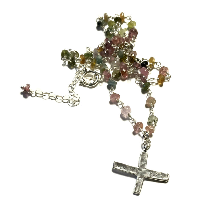 Medieval Cross on Tourmaline Chain