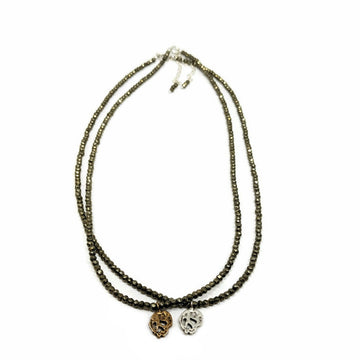 Skull Necklace on Faceted Pyrite