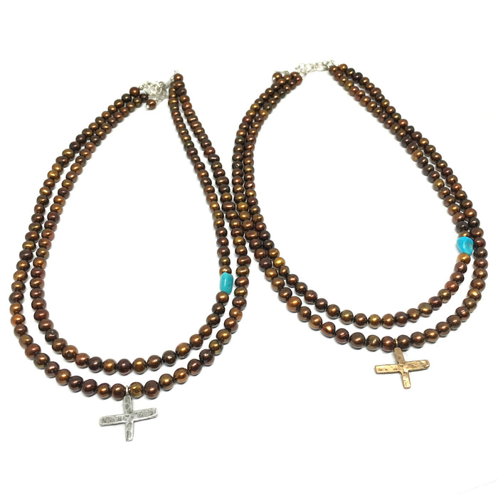 Medieval Cross on Double Pearl Strand